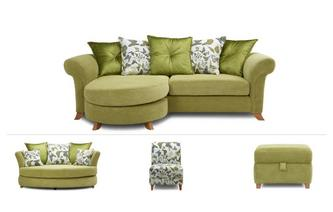 4 Seater, Cuddler Sofa, Accent Chair & Footstool