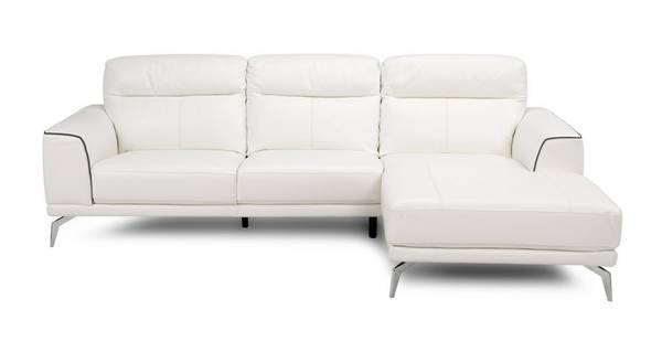 Denver Leder en Lederlook Bank met chaise longue rechts