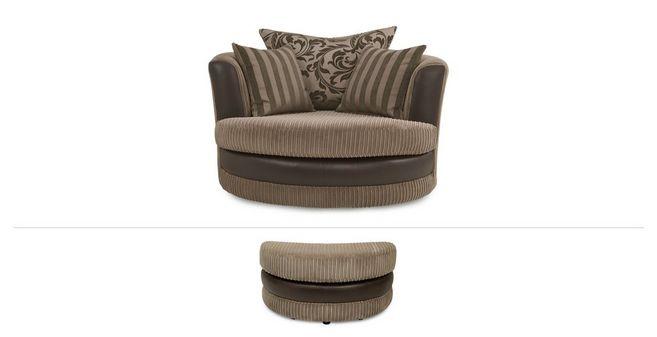 Destiny Clearance: Large Swivel Chair And Half Moon Footstool