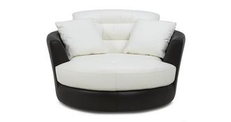 Diego Leather and Leather Look Large Swivel Chair
