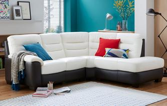 Diego Leather and Leather Look Left Arm Facing 2 Piece Corner Sofa Essential