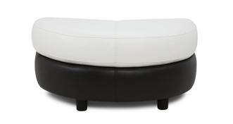 Diego Leather and Leather Look Half Moon Footstool