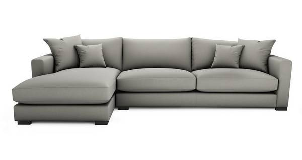 Dillon Soft Plain Left Hand Facing Large Chaise End Sofa