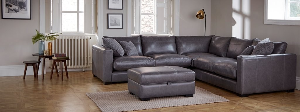 Dillon Leather Small Corner Sofa Dfs