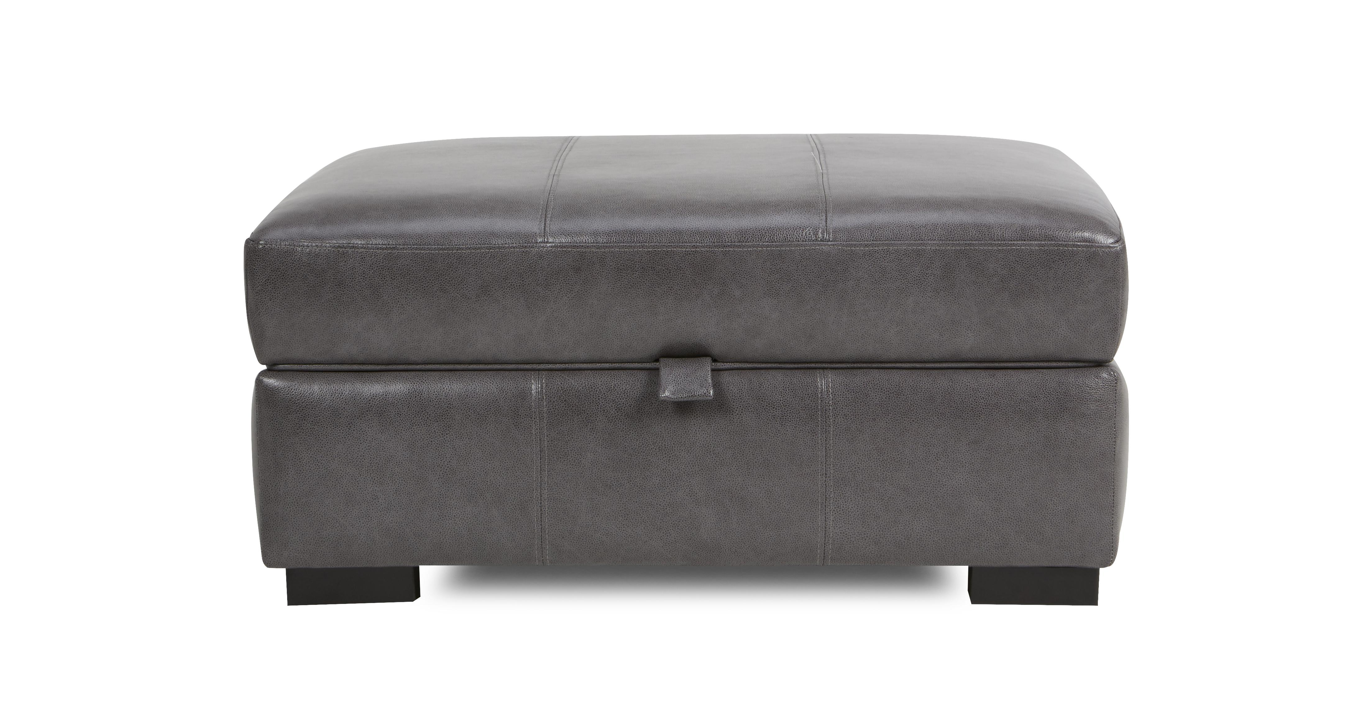 Dillon Leather Large Storage Footstool Dfs Ireland