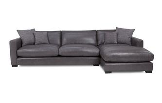 Grote bank met chaise longue rechts   Dillon Leather
