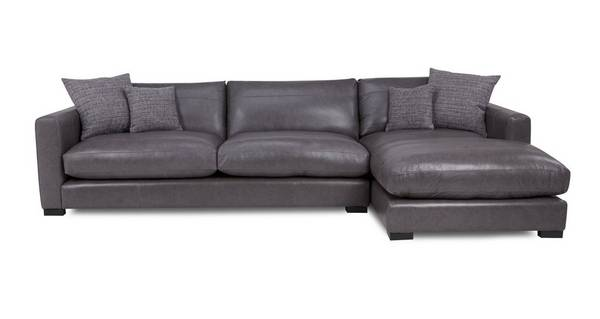 Dillon Leather Right Hand Facing Large Chaise End Sofa