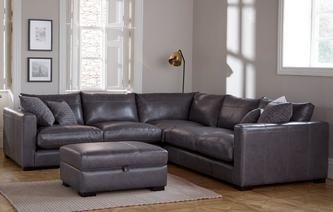 Dillon Leather Small Corner Sofa Dillon Leather ...