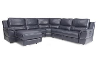 Left Hand Facing Electric Chaise Corner Sofa New Club Contrast