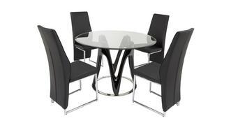 Drift Vaste tafel & set van 4 stoelen