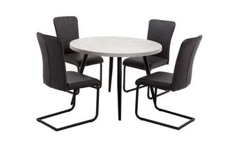 Round Fixed Top Table and Set of 4 Chairs Duplex