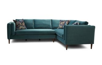 Left Hand Facing Arm 3 Seater Corner Sofa Luxe Velvet