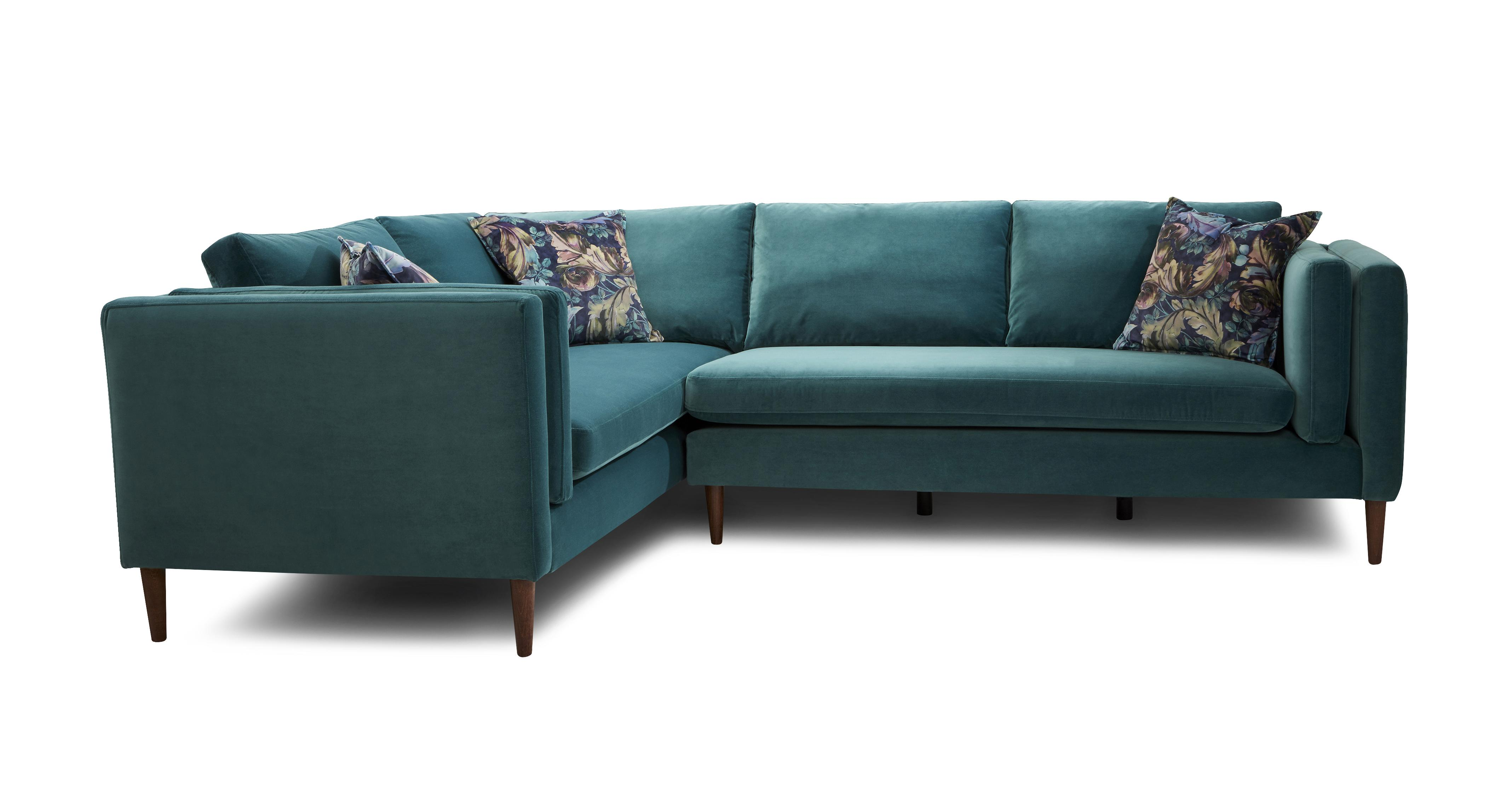 Eden Right Hand Facing Arm 3 Seater Corner Sofa Luxe Velvet Dfs