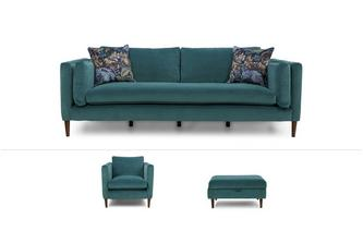 Eden Clearance Large Sofa, Chair & Footstool Luxe Velvet