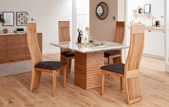 Elena Square Dining Table & Set of 4 Dining Chairs Elena