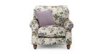 Ellie Floral Armchair with Plain Scatter Cushion