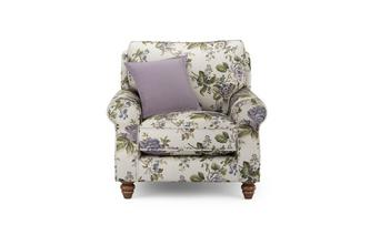 Floral Armchair with Plain Scatter Cushion Ellie Floral