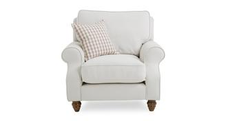 Ellie Plain Armchair with Check Scatter Cushion