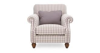 Ellie Check Accent Chair with Plain Bolster Cushion