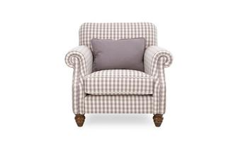 Check Accent Chair with Plain Bolster Cushion
