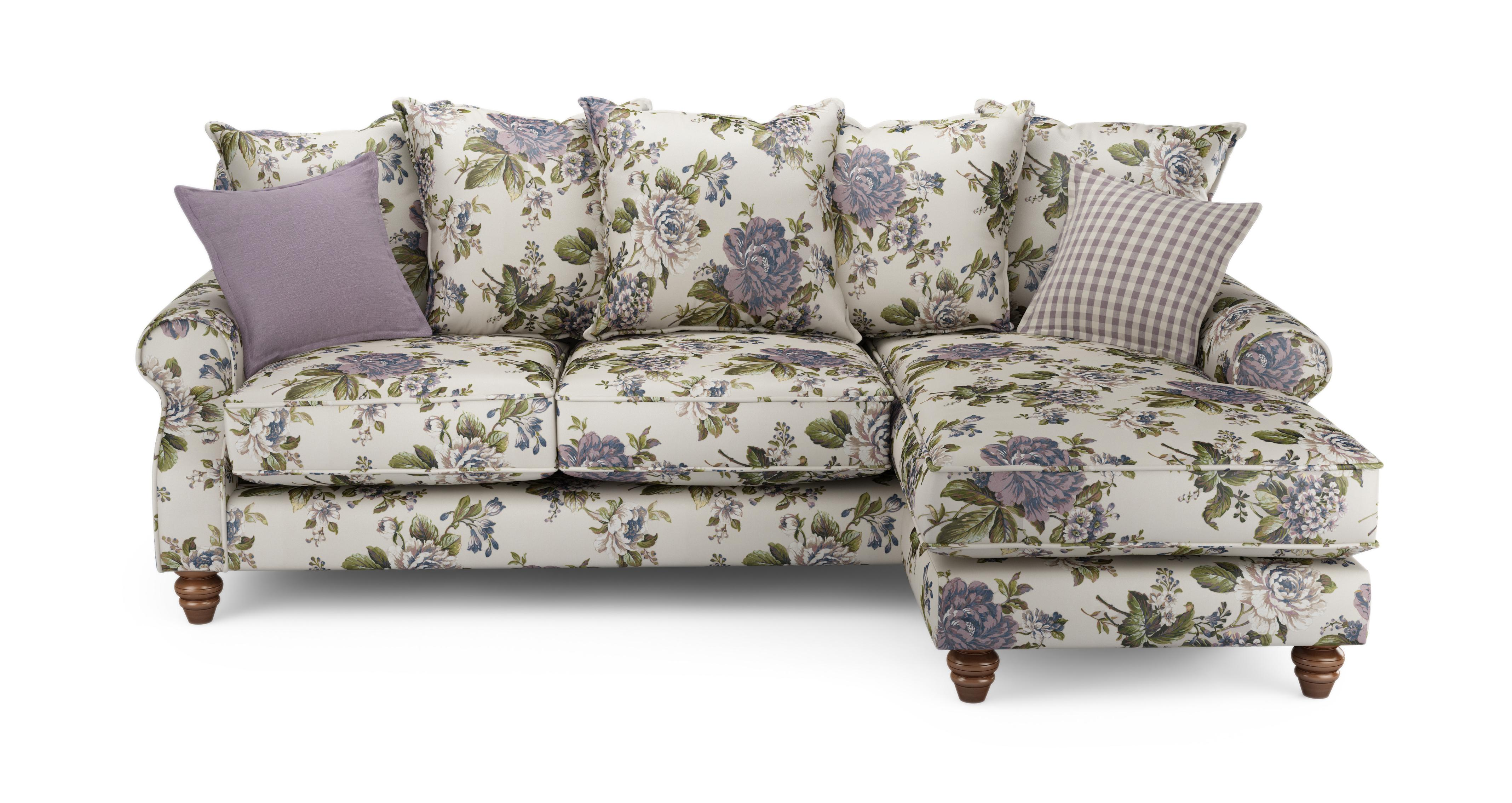 Ellie Floral Right Hand Facing 4 Seater Chaise End Sofa Ellie