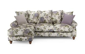Floral Left Hand Facing 4 Seater Chaise End Sofa