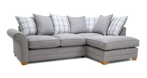 Elliott Plain Left Arm Facing Pillow Back Deluxe Corner Sofa Bed
