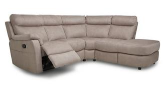 Ellis Fabric Option B Left Arm Facing 2 Piece Manual Recliner Open End Corner Sofa