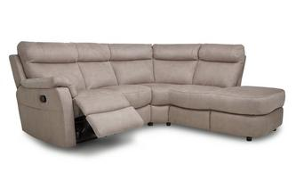 Fabric Option B Left Arm Facing 2 Piece Manual Recliner Open End Corner Sofa