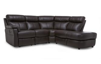 Option B Leather and Leather Look Left Arm Facing 2 Piece Manual Recliner Corner Sofa