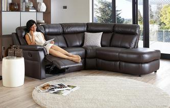 Ellis Option B Leather and Leather Look Left Arm Facing 2 Piece Manual Recliner Corner Sofa Essential