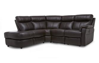 Option K Leather and Leather Look Right Arm Facing 2 Piece Manual Recliner Corner Sofa Essential