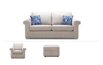 Elsie Clearance 3 Seater Sofa, Chair & Stool Plaza