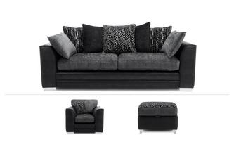 4 Seater Sofa, Chair & Storage Footstool