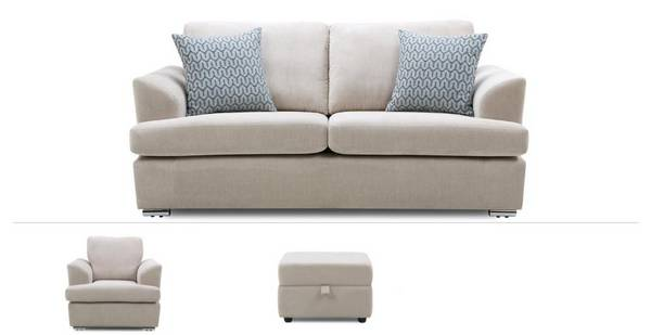 Etta Clearance 3 Seater Sofa, Armchair & Footstool