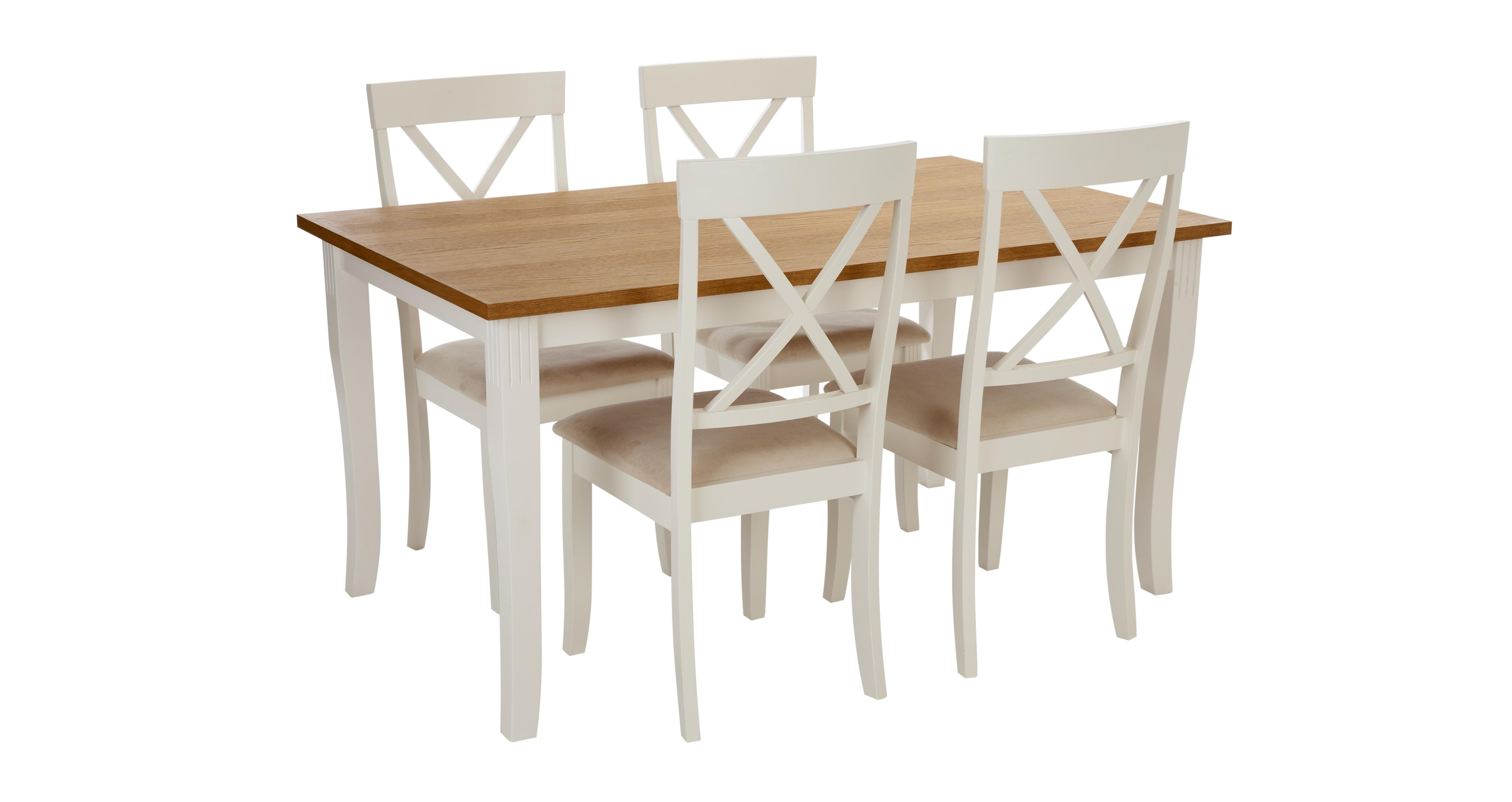 Evesham Rectangular Dining Table & Set of 4 Chairs | DFS Ireland