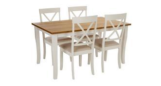 Evesham Rechthoekige eettafel en reeks van 4 stoelen