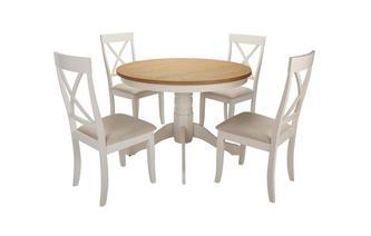 Ronde voetstuk eettafel en reeks van 4 stoelen Evesham
