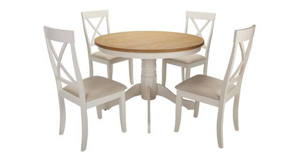 Evesham Round Pedestal Dining Table & Set of 4 Chairs