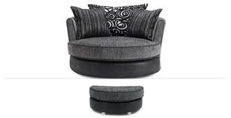 Evisa Clearance Large Swivel Chair & Stool