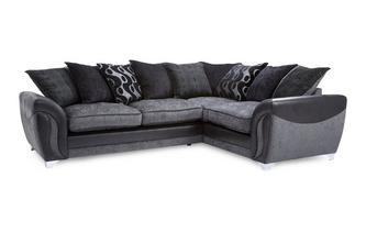 Left Hand Facing 3 Seater Pillow Back Corner Deluxe Sofa Bed Talia