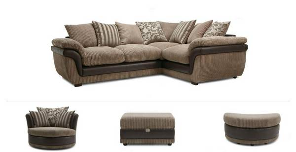 Finchley Clearance Corner Sofa, Swivel Chair, Half Moon Footstool & Storage Footstool