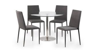 Fitz Round Fixed Top Table and 4 Zenn Chairs