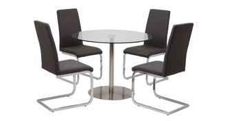 Fitz Round Fixed Top Table and 4 Vitra Chairs