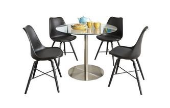 Round Fixed Top Table and 4 Ida Chairs
