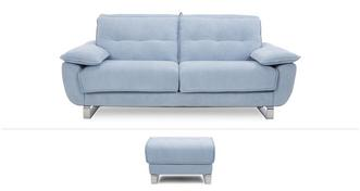 Fling Clearance 3 Seater Sofa Bed & Footstool