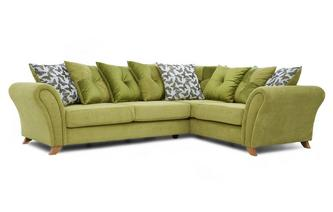 Left Hand Facing 3 Seater Pillow Back Corner Sofa Flutter