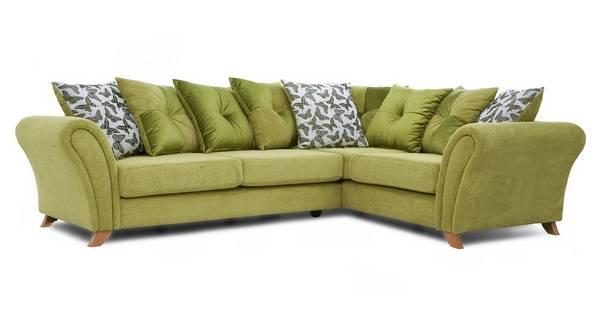 Flutter Left Hand Facing 3 Seater Pillow Back Corner Sofa