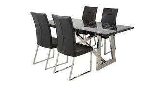 Fontella Rechthoekige eettafel en reeks van 4 stoelen