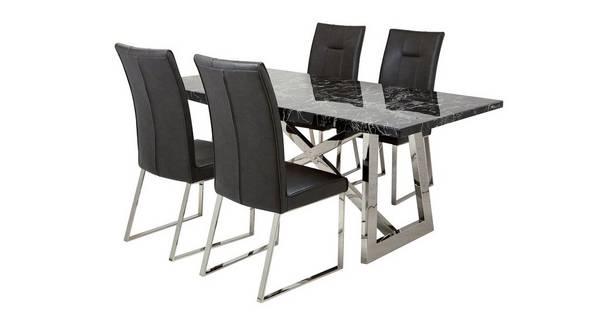 Fontella Rechthoekige eettafel en reeks van 4 stoelen Fontella
